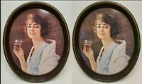 Vintage Drink Coca Cola Flapper Girl Oval Metal Serving Tray 1973 Pair Lot of 2