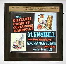 Magic lantern slide Cinema Advertisement Beccles carpet shop Gunn & Hill vintage