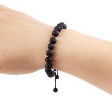 Adjustable Lava Stone Woven Bracelet Women Natural Black Volcanic Beads Jewelry
