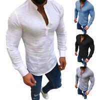 H/H Herren T-Shirt Langarm Leinen Shirts Casual Atmungsaktive V-Neck Tops