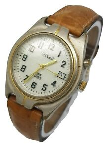 Rare F.Hinds LITEGLO Mens Date Function Watch Brown Leather Seiko Strap A10