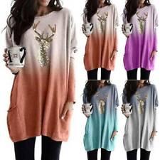 Damen Pullover Ombré Sweater Sweatshirt Jumper Longtop Pullikleid Strickkleid 48