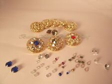 set 8 pc. Metal Gold Buttons for rhinestone. Style of Queen. 25mm.