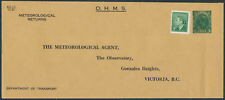 Canada #DEN525-40h 1c George VI Meteorological Returns PSE, Unused, Victoria BC