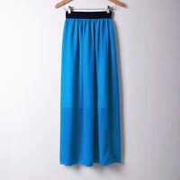 D BLUE | Women Double Layer Chiffon Pleated Long Maxi Dress Elastic Waist Skirt