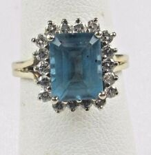 *ESTATE 14K YELLOW GOLD 40PTS DIAMOND 2.50CT BLUE TOPAZ RING G-H VS2 4.5 GRAMS