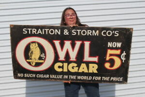 "Large Vintage Owl 5c Cigars Tobacco Store Shop Gas Oil 48"" Metal Sign"