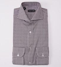 NWT $635 TOM FORD Cutaway Collar Glen Check Cotton Dress Shirt Slim-Fit 15.5