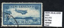 New Zealand 1935 AirMail Issue 6d Blue  SG.572  Used