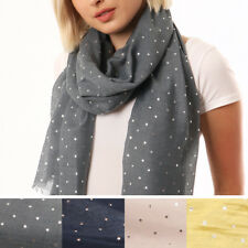 1f99a92e6930 Rose Gold Metallic Foil Stars Print Scarf Ladies Womens Navy Grey  Valentines Day