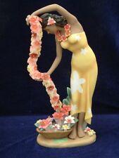 Gill Porcelain Retro Hawaiian Hula Statue Woman with Cascading Lei Yellow Girl