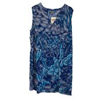 Peppermint Bay Floral Print Tunic Mini Dress Blue Size 1X New