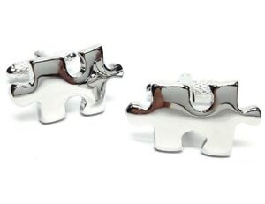 CUFFLINKS JIGSAW PUZZLE PIECES - ONYX ART LONDON - GIFT BOXED MENS JEWELLERY