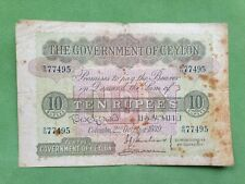 Banknote from Ceylon 10 rupees 1939