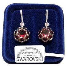 Fsw3 Fiori Pendenti Orecchini Donna Pl. Oro Bianco 18k cristalli Swarovski Rosso