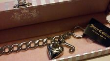 CHUNKY Silvertone JUICY COUTURE Heart & J Charms Starter BRACELET*****