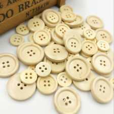 50Pcs Wood Buttons For Craft Round Sewing Buttons Scrapbook DIY Home WB534