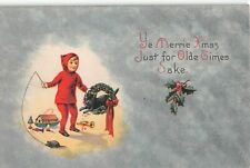 Old Art Deco Christmas Postcard-Child Teasing Black Cat With Mouse Toy on String