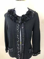 Women's WHITE HOUSE BLACK MARKET Black Knit Blazer with Studs & Ribbon Detail M