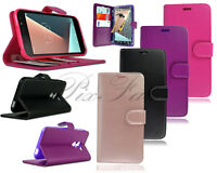 New Genuine Leather Wallet Case For Vodafone Smart Mobile Phone + Tempered Glass
