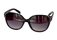 Stylische Damenbrille Sonnenbrille Pornobrille Schwarz mit Strass-Steinen M 37