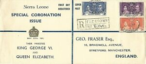 SIERRA LEONE 1937 CORONATION OF KGVI ON FRASER ILLUSTRATED FDC -  FREETOWN