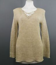 New Directions Women Sweater, Size M, Beige, Acrylic/Rayon/Metallic/Ot her