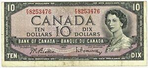 1954 Canada $10 Cut Error Beattie Raminsky #13274