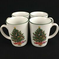 "Set of 4 Coffee Mugs 3 3/4"" Noel Morning Stoneware Christmas Tree Holly Berries"