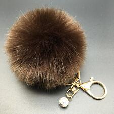 8CM Rabbit Fur Fluffy Pompom Ball Handbag Car Pendant Charm Chain Keyrings CA