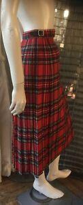 Pitlochry of Scotland Red tartan Check Kilt Skirt 100% Wool Size M