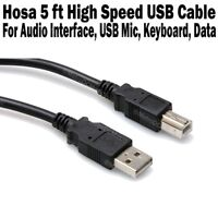 Hosa High Speed USB Cable 5 ft Type A to Type B Cord Microphone Mic Audio NEW