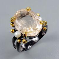 Rutilated Quartz Ring Silver 925 Sterling Handmade10ct+ Size 9 /R128482