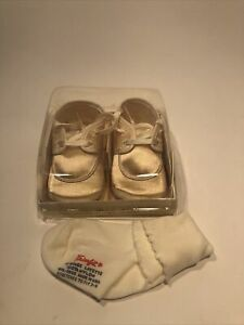 Vintage Mrs Day's Ideal Baby Crib Shoes Size1 Lace Ruffle Original Box