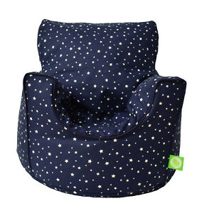 Cotton Navy Stars Bean Bag Arm Chair with Beans Toddler Size From Bean Lazy