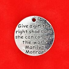 2 x Tibetan Silver 'Give a Girl the Right Shoes' Charm Pendants Jewellery Making