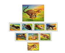 MDG94012 Wildlife 7+block+stamp from block  MNH MADAGASIKARA 1994