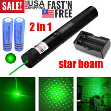 900Miles 532nm Star Beam Green Laser Pointer Pen Rechargeable+Battery & Charger