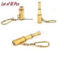 "Lot of 10 pc 3"" Brass Telescope - Pocket Spyglass Monocular - Nautical Key chain"
