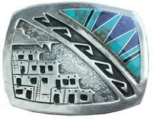 Vtg Native American Belt buckle Turquoise Lapis Inlay Najavo Sterling Silver 70s