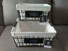 2 New Rae Dunn Stuff Things Black Wire Linen Lined Nested Baskets