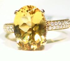 7.34CT 14K Gold Natural Yellow Emerald White Diamond Vintage Engagement Ring