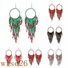 Fashion Retro Bohemian Ethnic Wind Long Style Rice Beads Fringed Women Earrings