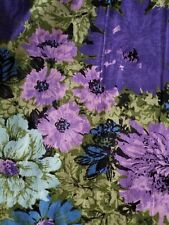 Vtg 1960s fabric barkcloth upholstery drapery purple blue lilac LG flowers 5 yds