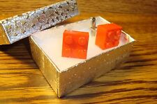 RED LEGO Block Design Cuff links 1 Pair (Two) Hamilton Silver Plated $2.50