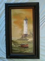 "Original Everett Woodson Oil Painting Lighthouse Boat Seagulls Seaside 19"" x 31"""