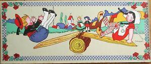 M. Vanasek/Artist-Signed 1920s French Children  Litho Print on Board: Seesaw-  A