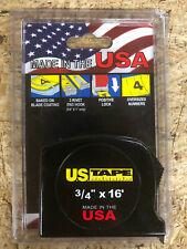 """U.S. Tape Tape Measure 3/4"""" 16'- Black"""