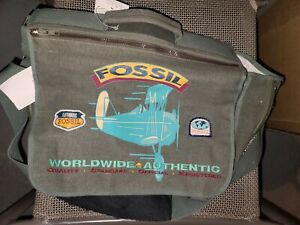 NEW Rare Vintage Fossil Messenger Bag Authentic NWT Expandable Army Canvas 1990