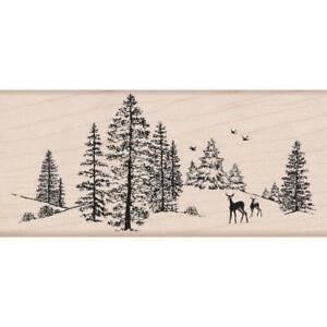 DEER Winter Forest Scene Wood Mounted Rubber Stamp Hero Arts K5524 NEW